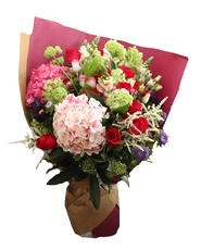 2 Hydrangea with Red roses