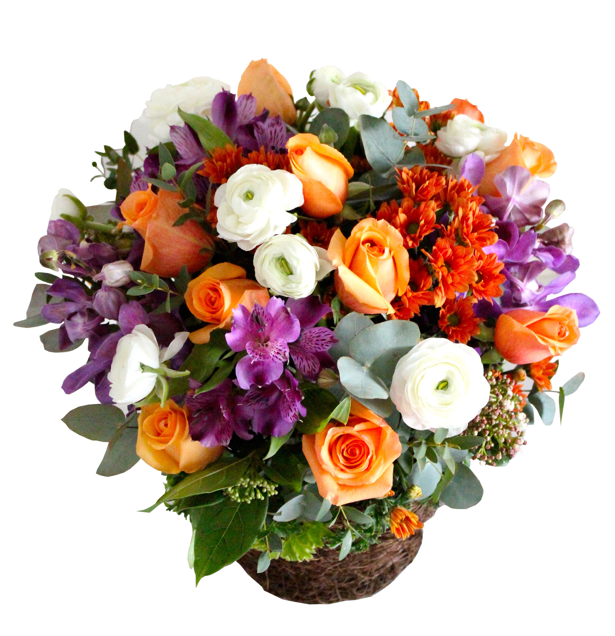 Range Flower Baskets : Orange roses basket